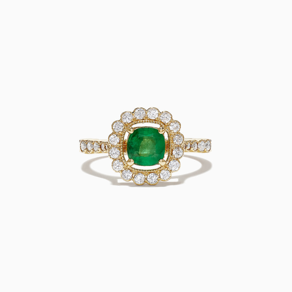 Effy 14K Yellow Gold Emerald and Diamond Ring, 1.41 TCW
