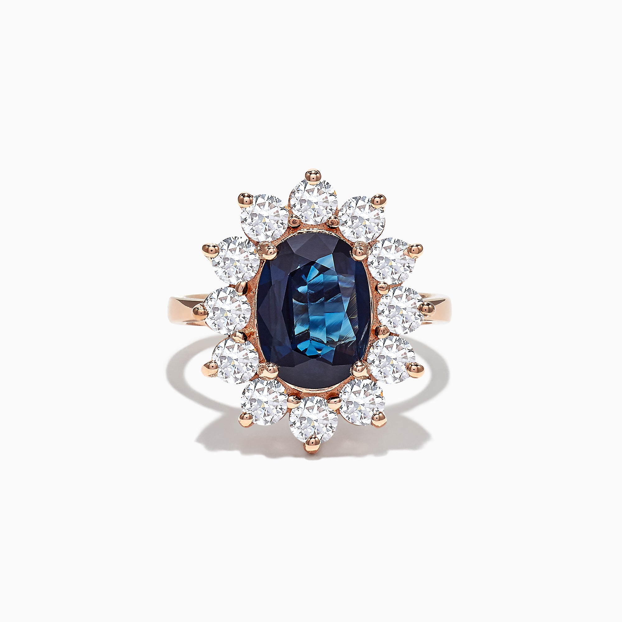 Effy 14K Rose Gold Blue Sapphire and Diamond Ring, 4.71 TCW