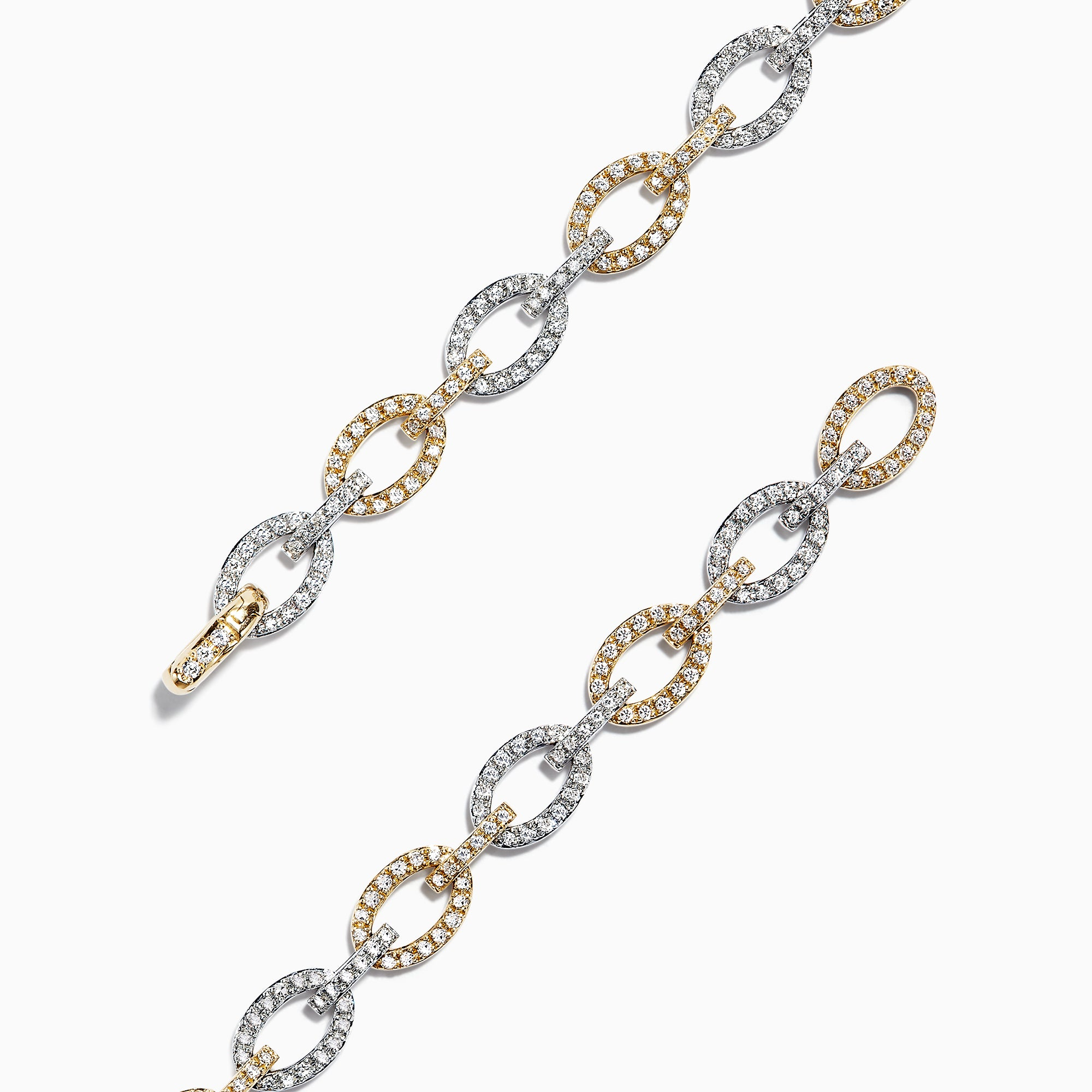 Effy Duo 14K 2 Tone Gold Diamond Link Tennis Bracelet, 1.52 TCW