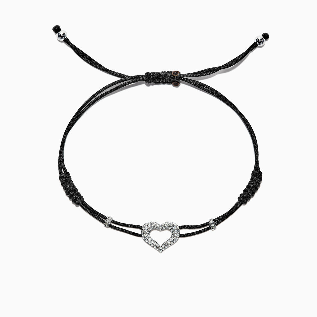 Effy 14K White Gold Diamond Heart String Bracelet, 0.33 TCW