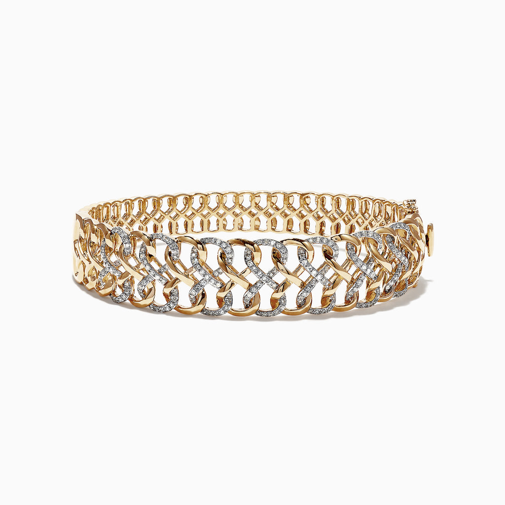 Effy 14K Yellow Gold Diamond Bangle, 0.81 TCW