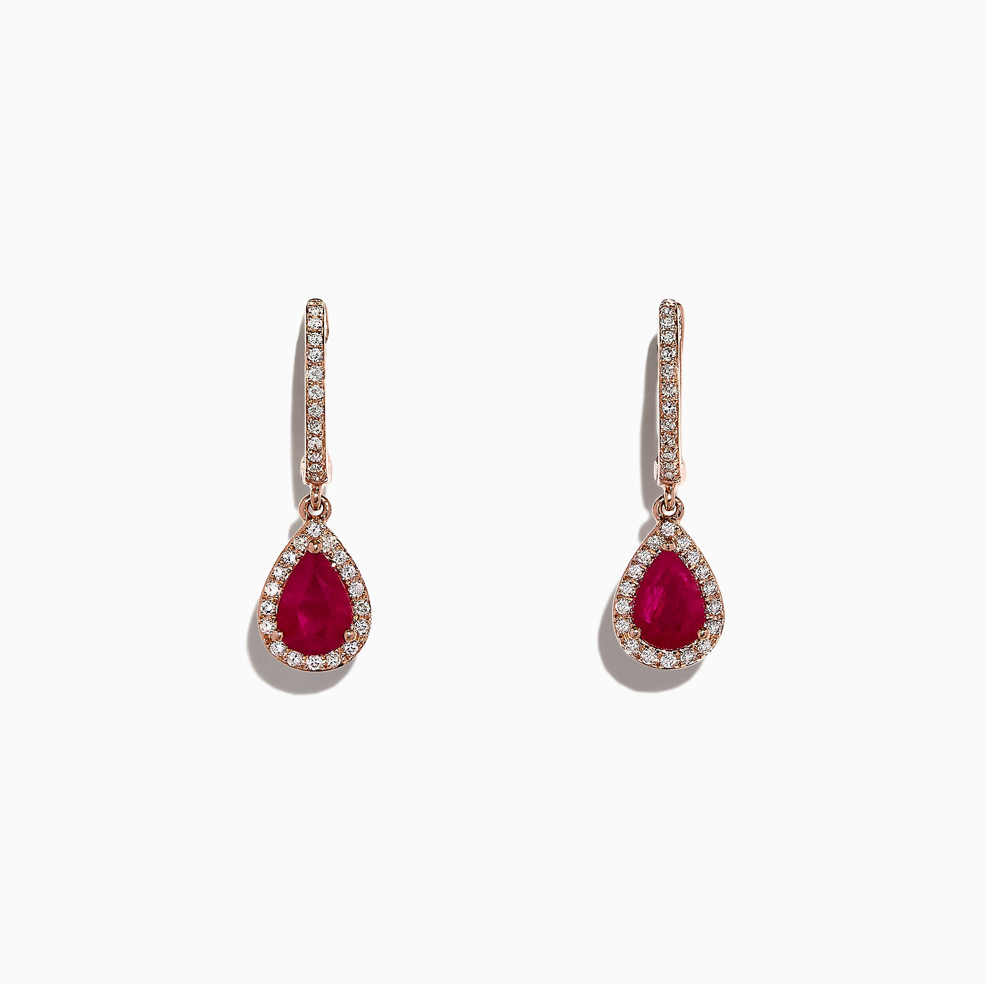 Effy 14K Rose Gold Ruby and Diamond Drop Earrings, 1.68 TCW