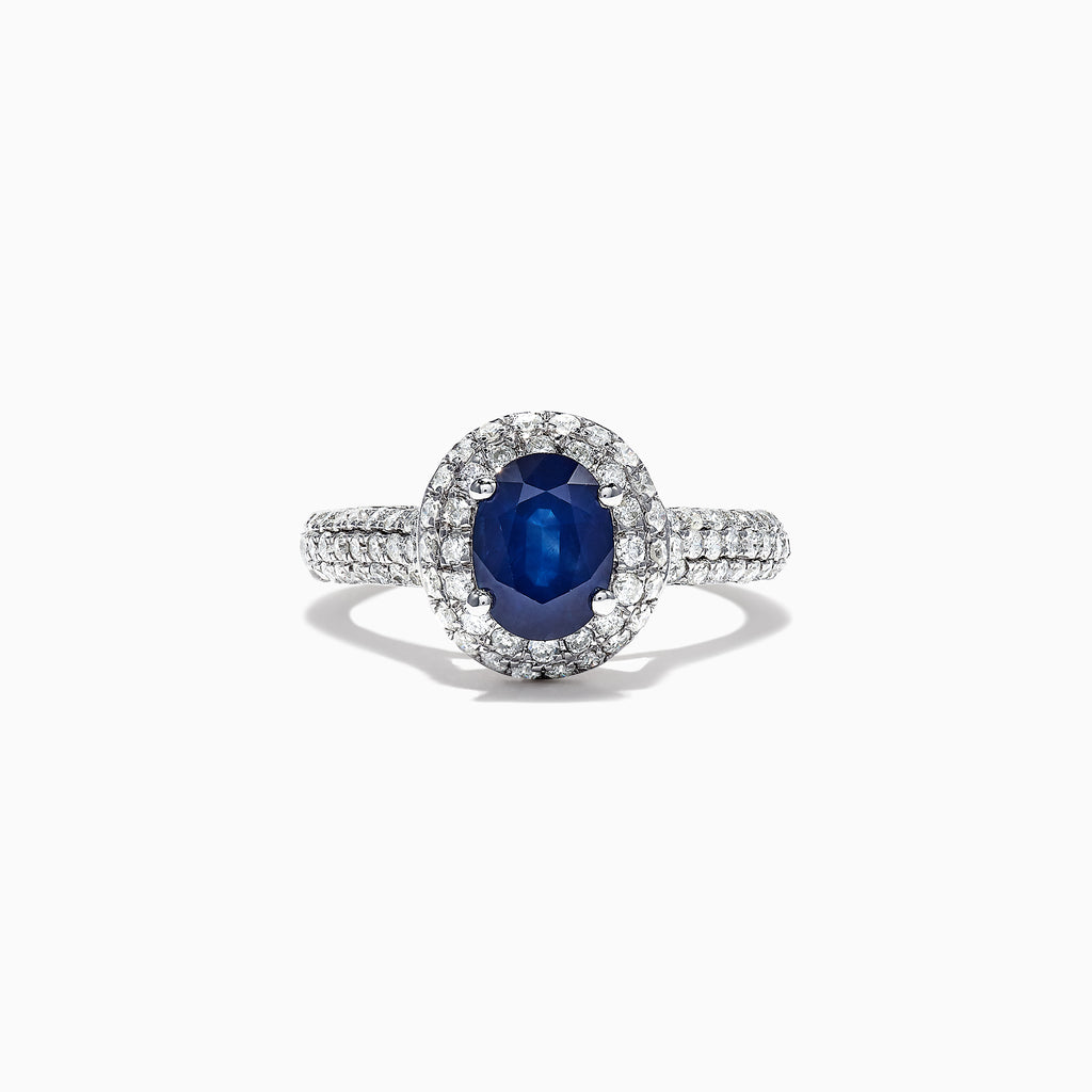 Effy 14K White Gold Blue Sapphire and Diamond Ring, 2.40 TCW
