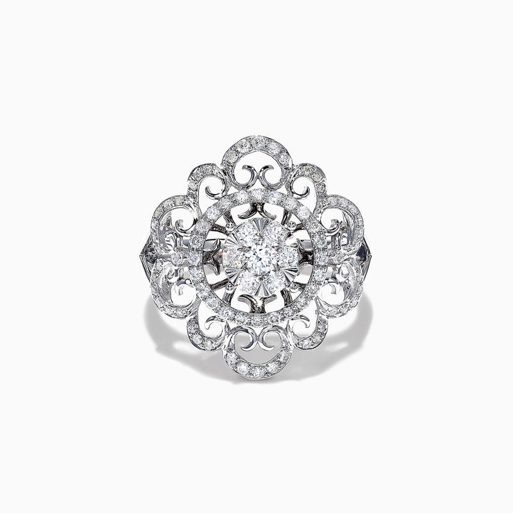 Effy 14K White Gold Diamond Filigree Ring, 0.76 TCW