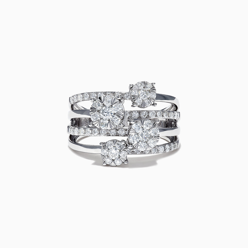 Effy 14K White Gold Diamond Clusters Ring, 1.19 TCW
