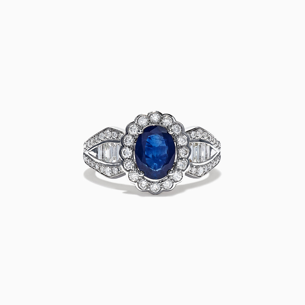 Effy 14K White Gold Blue Sapphire & Diamond Ring, 2.13 TCW