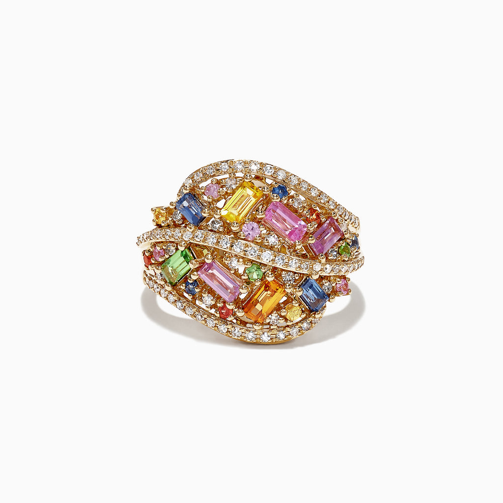 Effy 14K Yellow Gold Multi Sapphire and Diamond Ring, 1.82 TCW