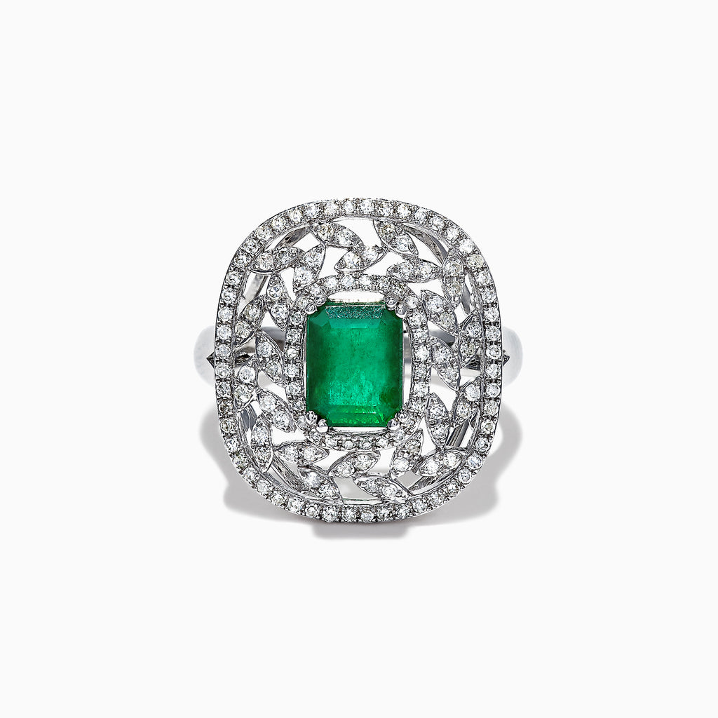 Effy 14K White Gold Emerald and Diamond Vines Ring, 1.94 TCW