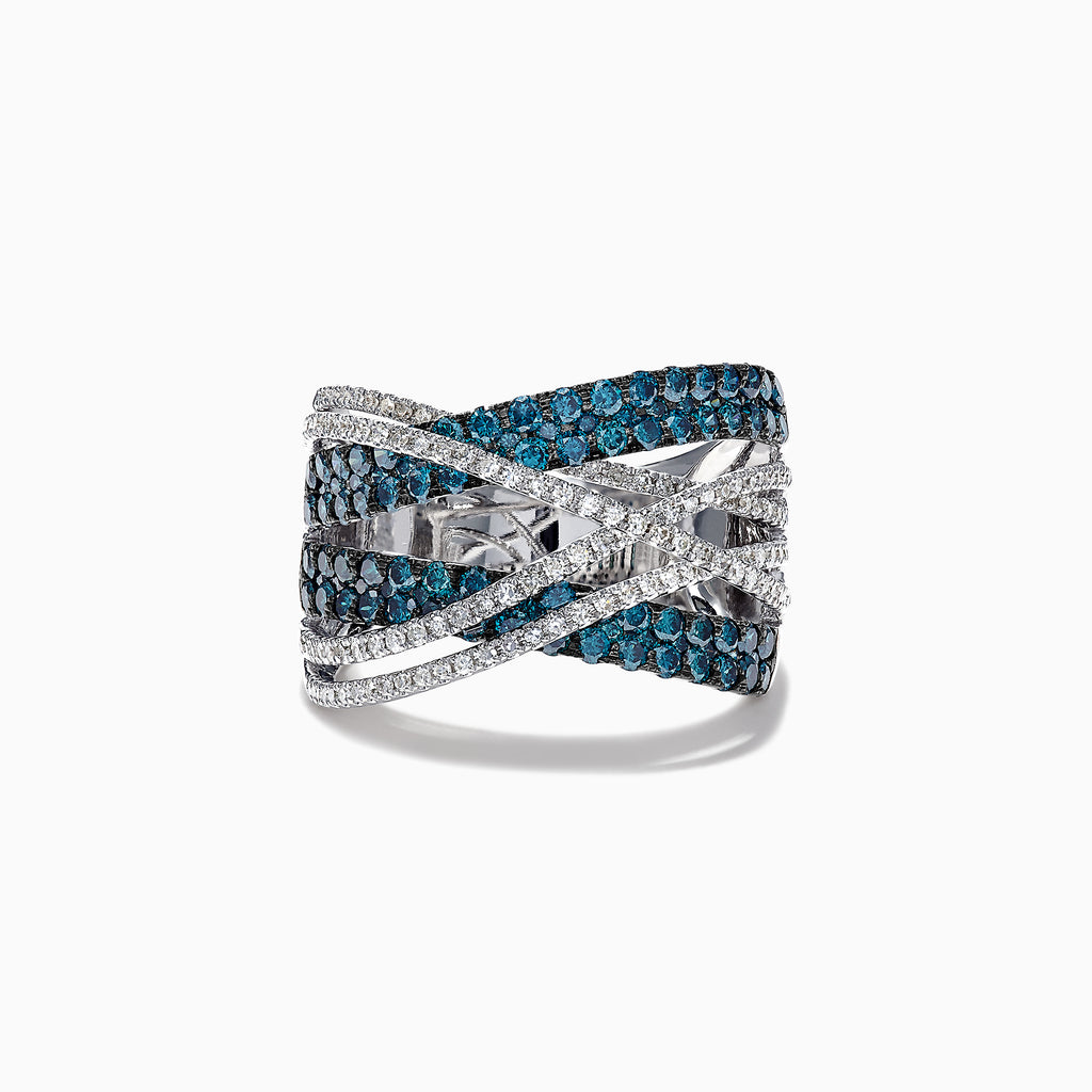 Effy 14K White Gold Blue and White Diamond Crossover Ring, 1.84 TCW