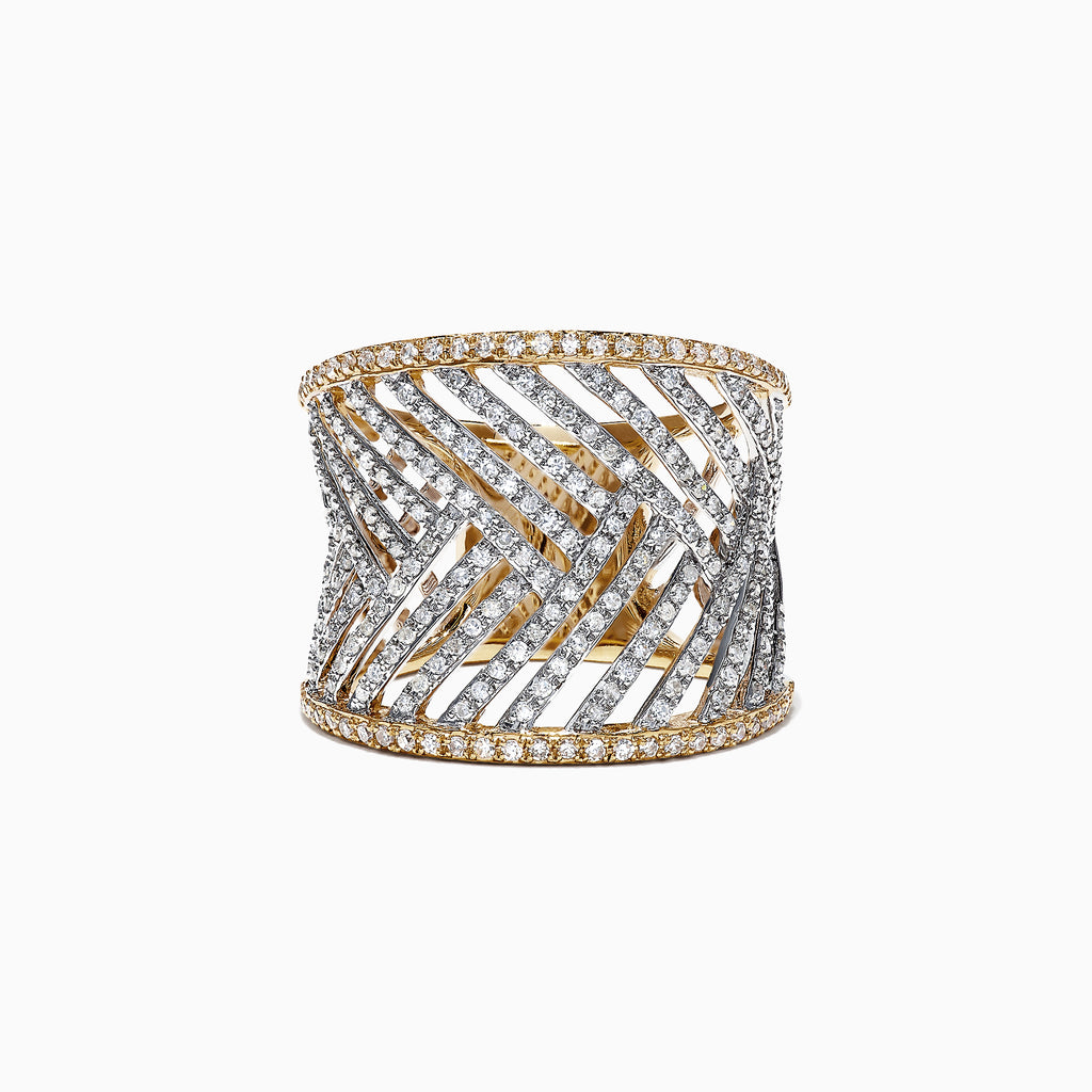 Effy 14K Two Tone Gold Diamond Ring, 0.97 TCW