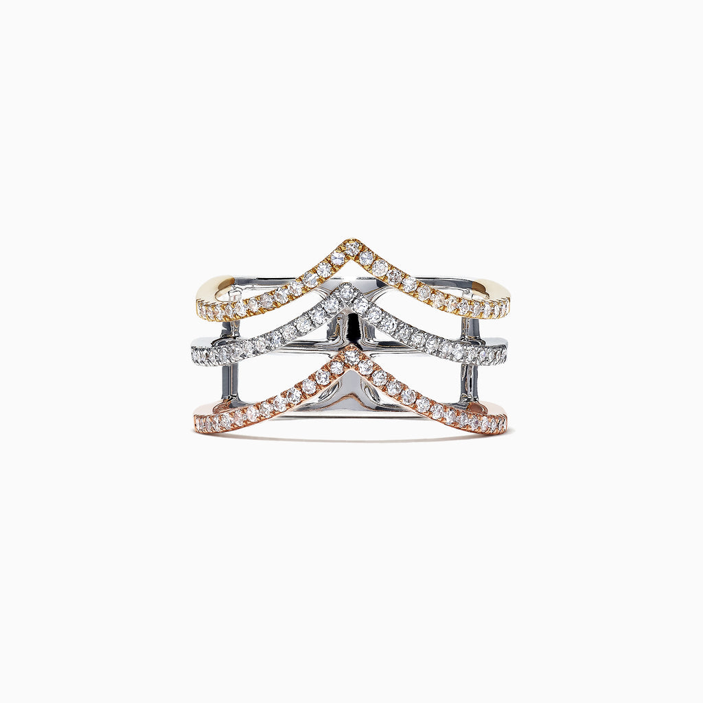 Effy 14K Tri Color Gold Diamond Ring, 0.40 TCW
