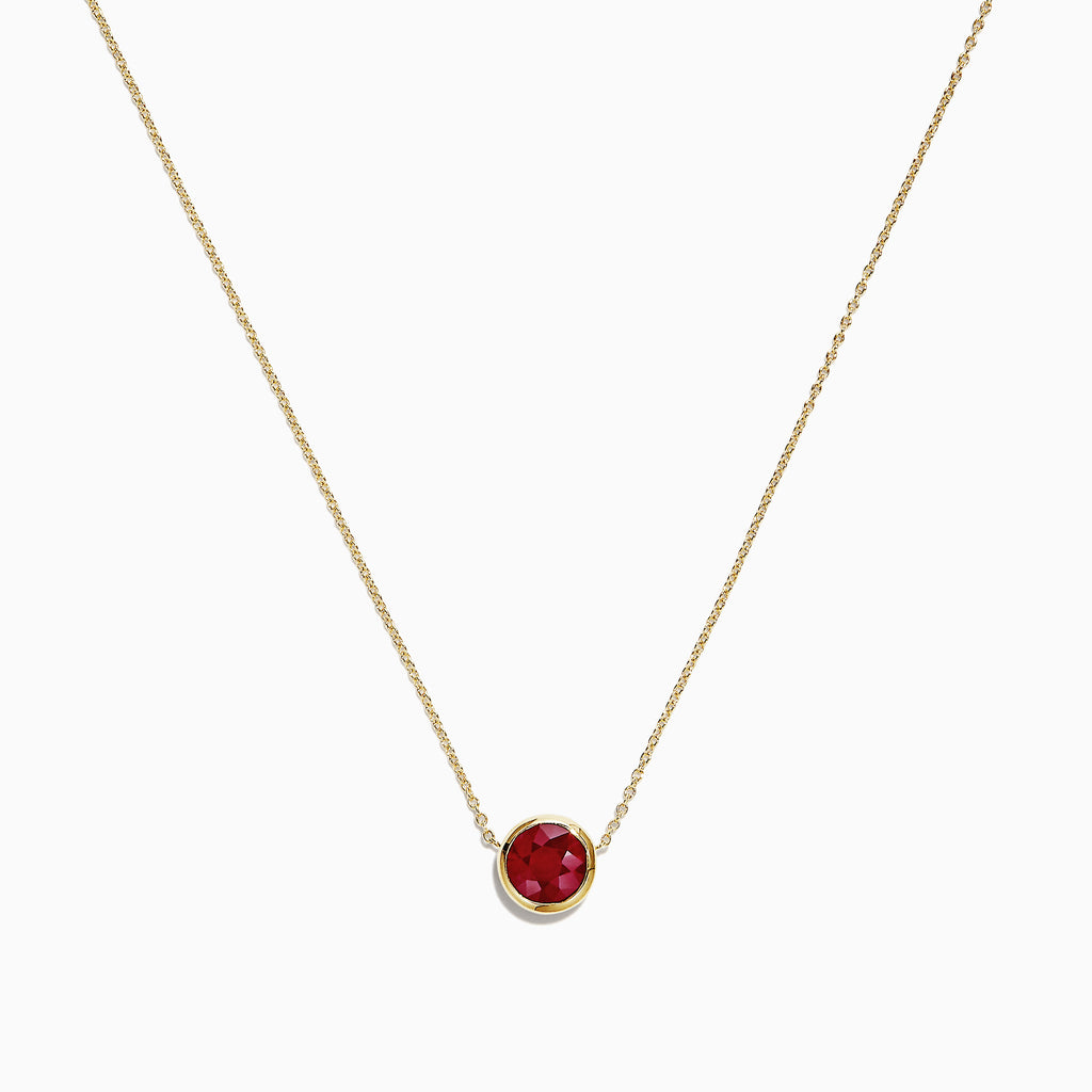 Effy 14K Yellow Gold Ruby Necklace, 1.00 TCW