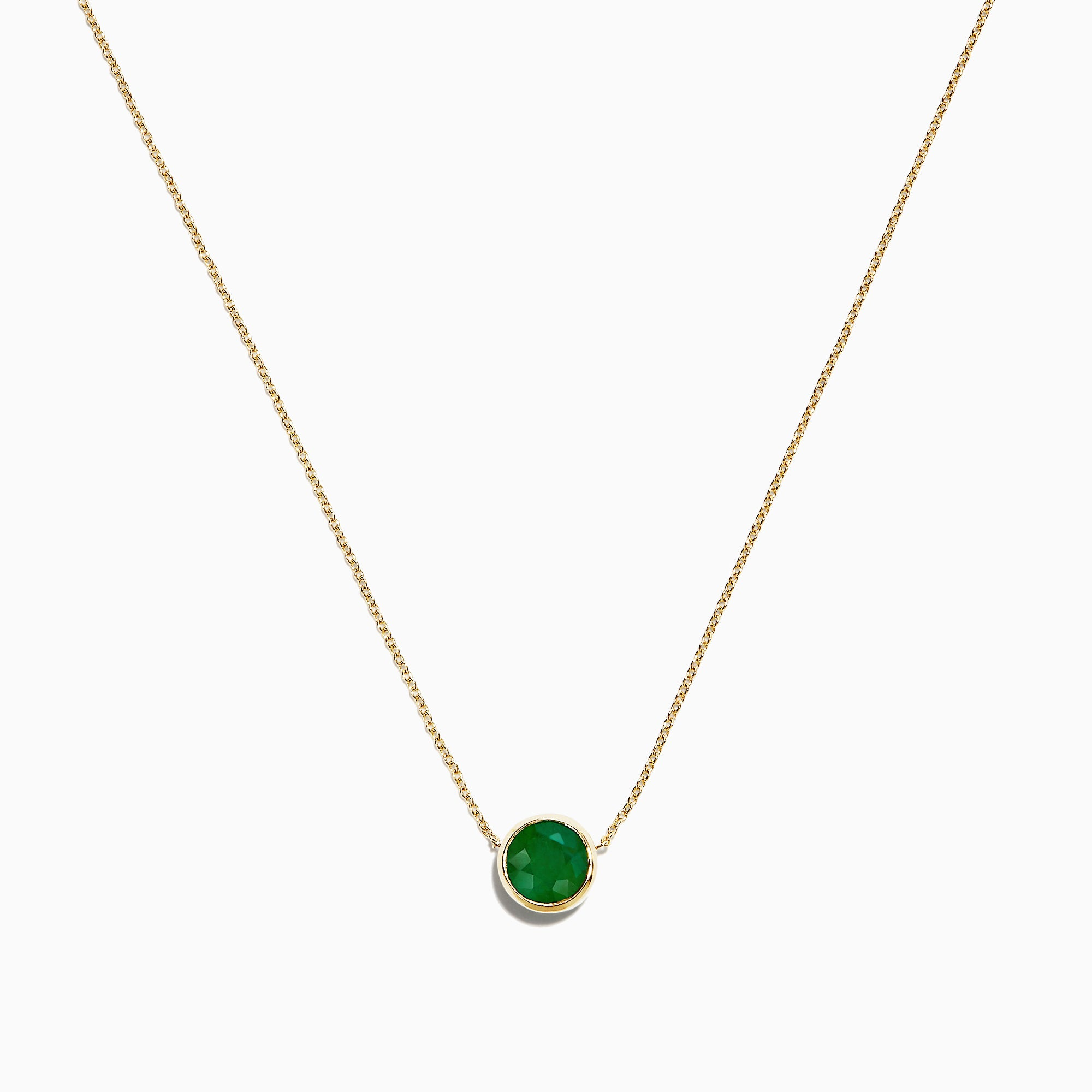 Effy 14K Yellow Gold Emerald Necklace, 0.81 TCW