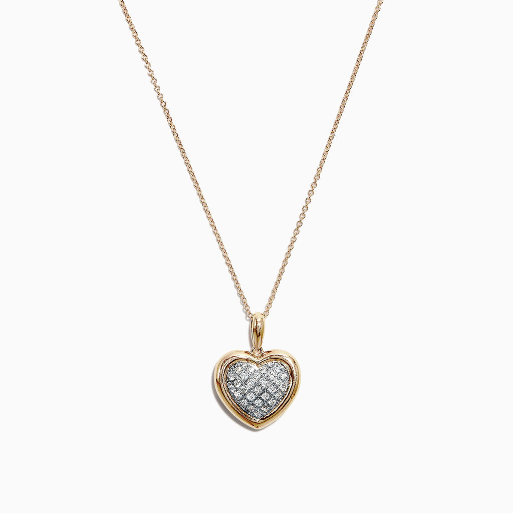 Effy 14K Two Tone Gold Diamond Heart Pendant 0.17 TCW