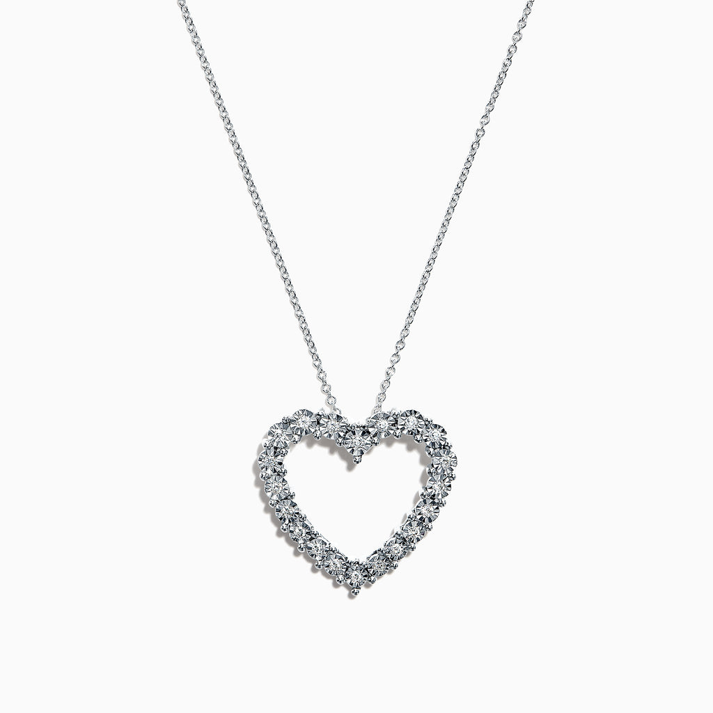Effy 14K White Gold Diamond Heart Pendant, 0.16 TCW