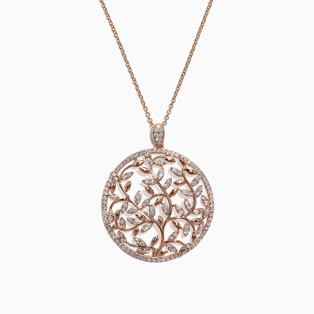 Effy 14K Rose Gold Diamond Vine Pendant, 0.95 TCW