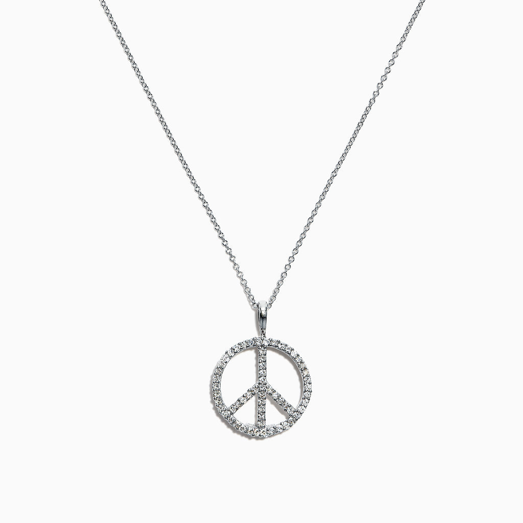 Effy 14K White Gold Diamond Peace Sign Pendant, 0.29 TCW