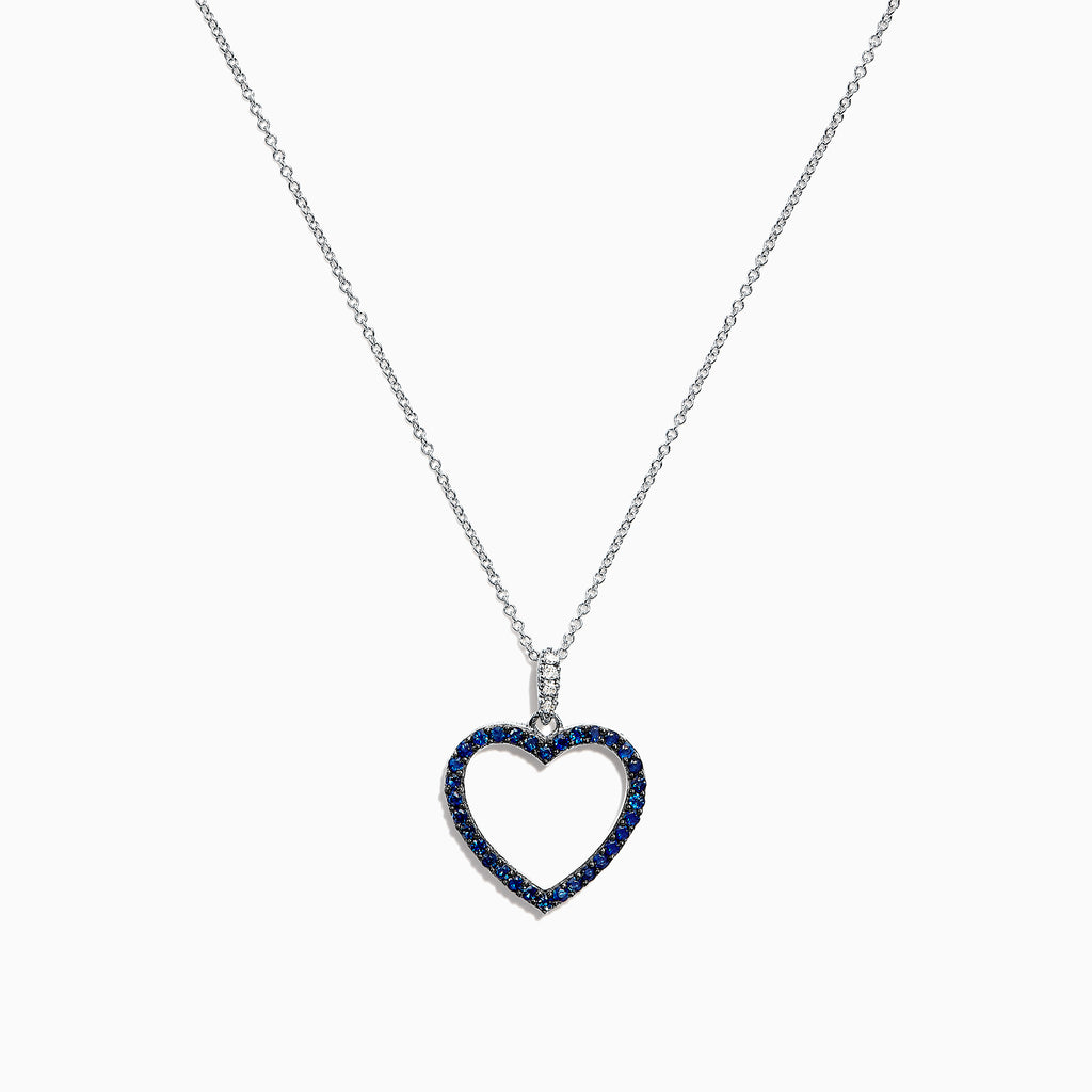 Effy 14K White Gold Blue Sapphire & Diamond Heart Pendant, 0.32 TCW