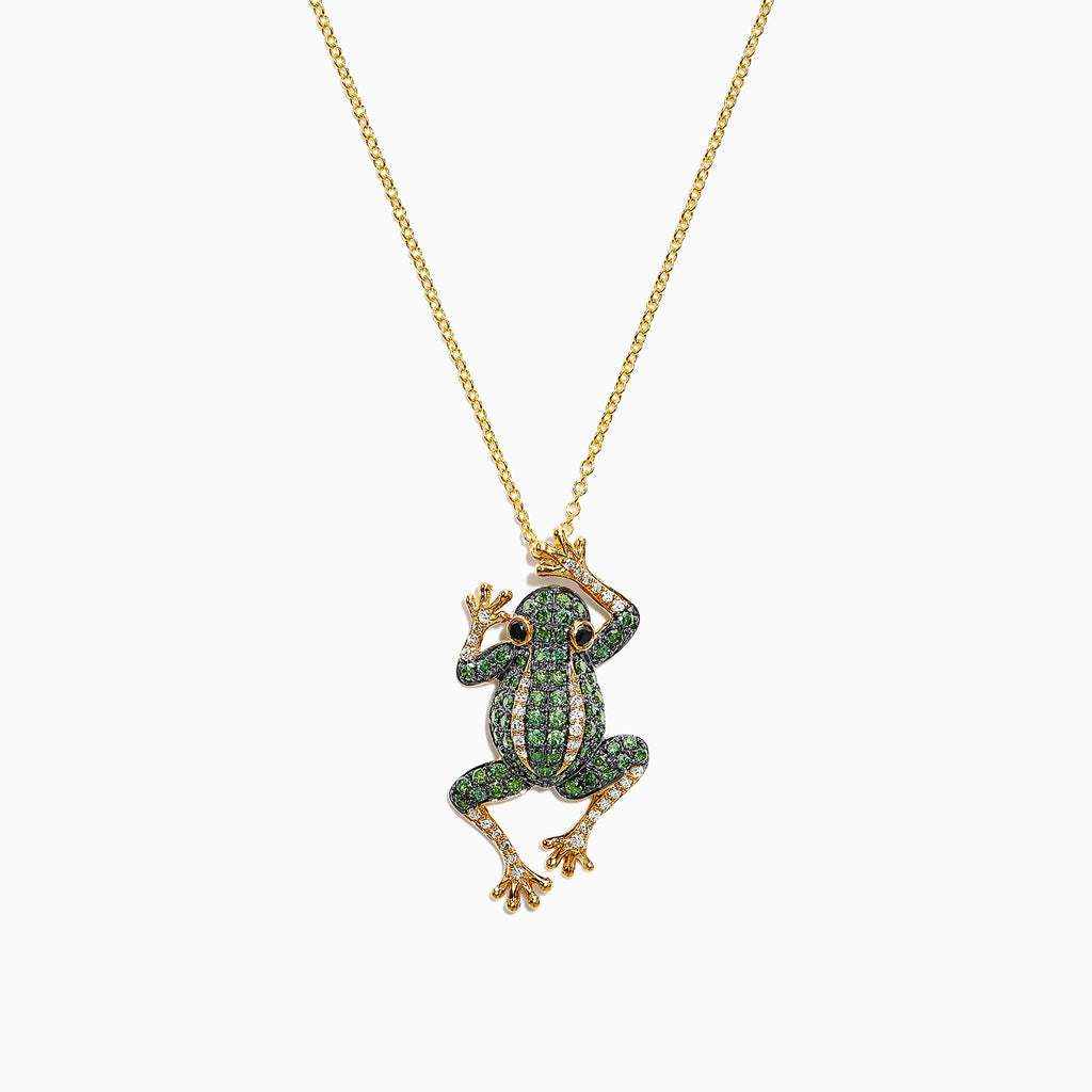 Effy 14K Yellow Gold Green, White and Black Diamond Frog Pendant, 0.89 TCW