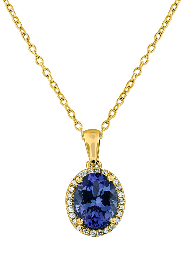 14K Yellow Gold Tanzanite and Diamond Pendant, 2.13 TCW