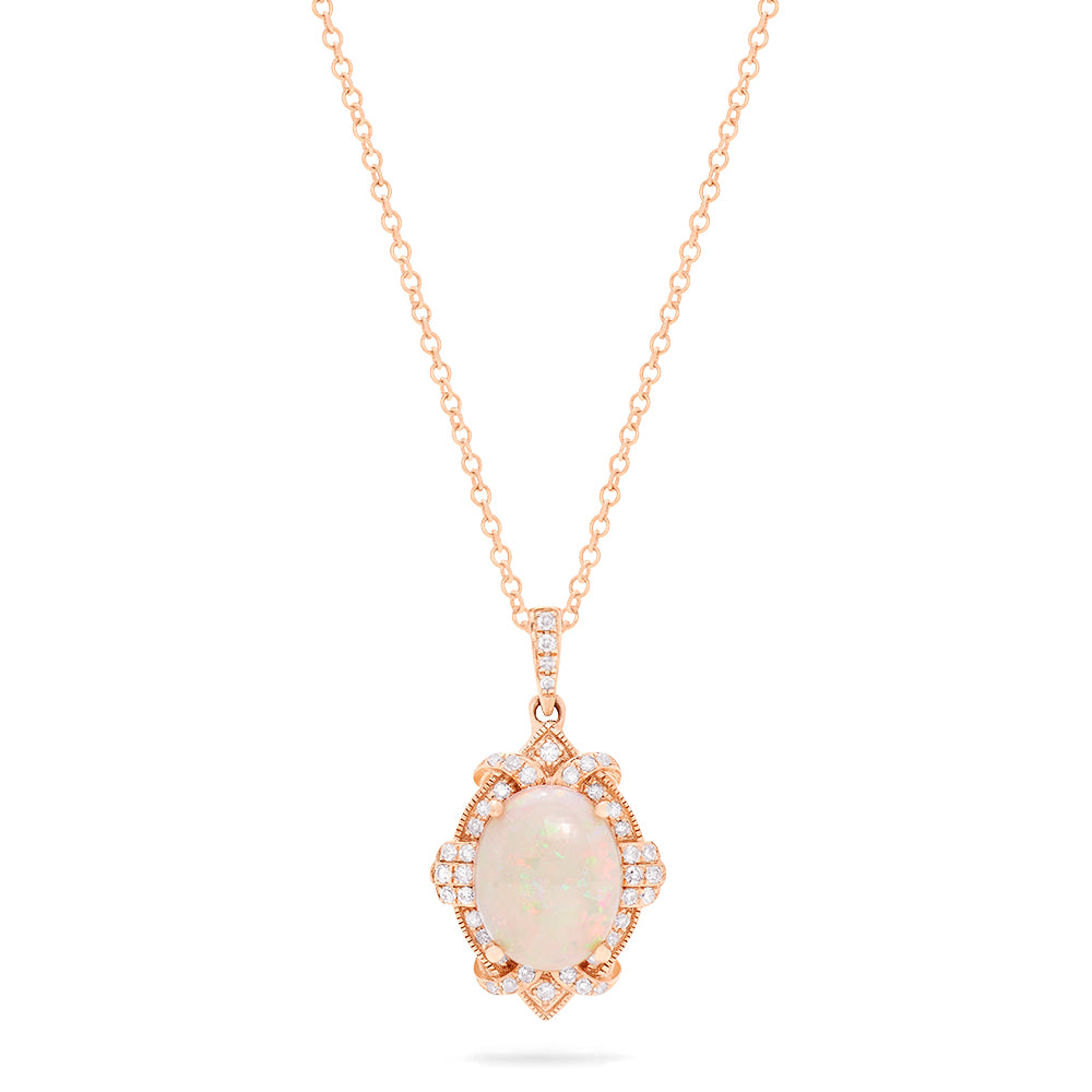 Effy Aurora 14K Rose Gold Opal and Diamond Pendant, 1.57 TCW