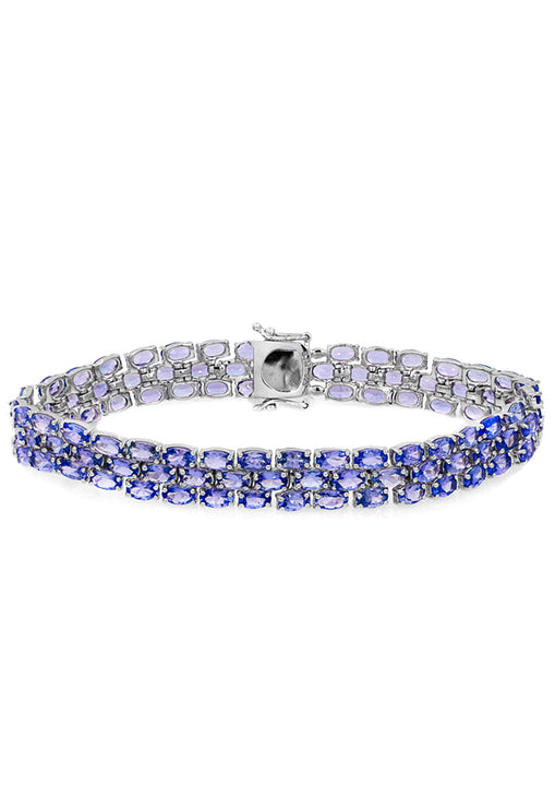 Sterling Silver 3-Row Tanzanite Bracelet, 22.0 TCW