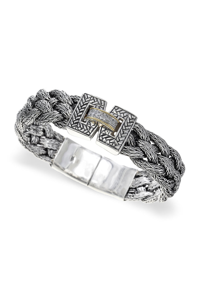 Effy 925 Sterling Silver and 18K Yellow Gold Woven Bracelet