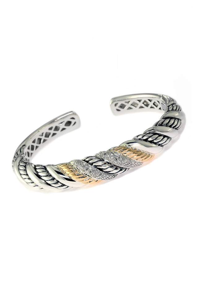 Effy 925 Sterling Silver and 18K Gold Diamond Bangle