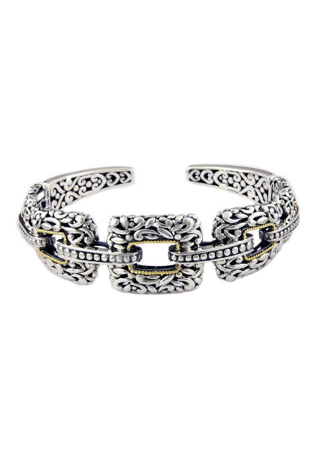 Effy 925 Sterling Silver and 18K Yellow Gold Bangle