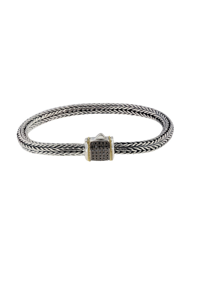Effy 925 Silver & 18K Gold Black Diamond Bracelet