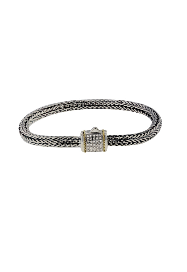 Effy 925 Sterling Silver and 18K Yellow Gold Diamond Bracelet, 0.14 TCW