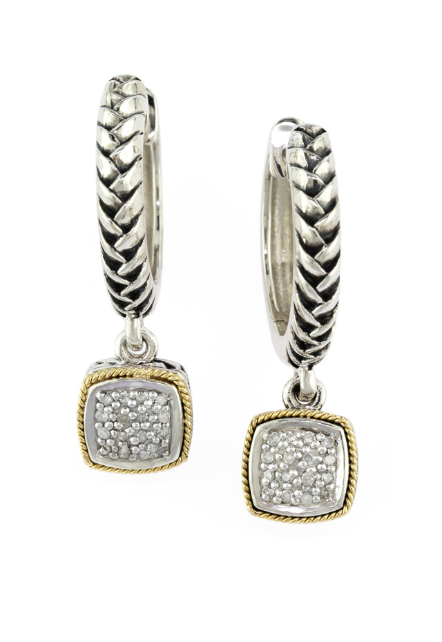 Effy 925 Sterling Silver and 18K Gold Diamond Earrings