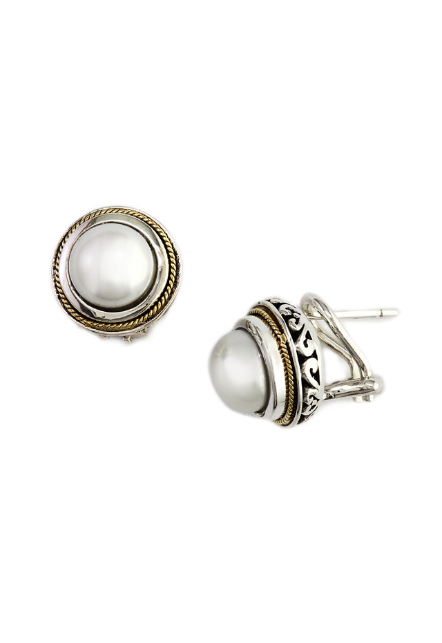 Effy 925 Sterling Silver & 18K Gold Cultured Pearl Earrings