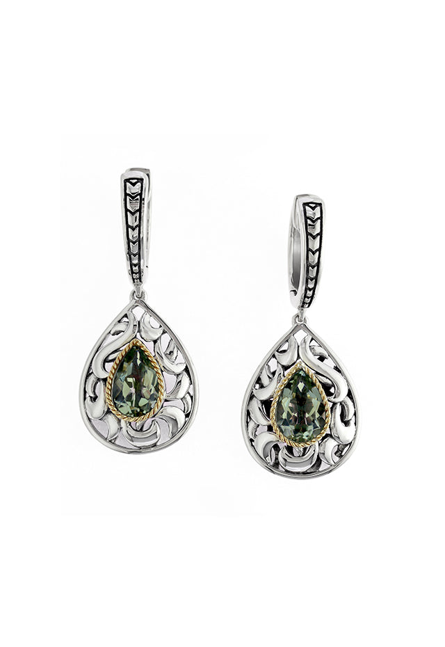 Effy 925 Sterling Silver and 18K Gold Green Amethyst Earrings, 2.33 TCW
