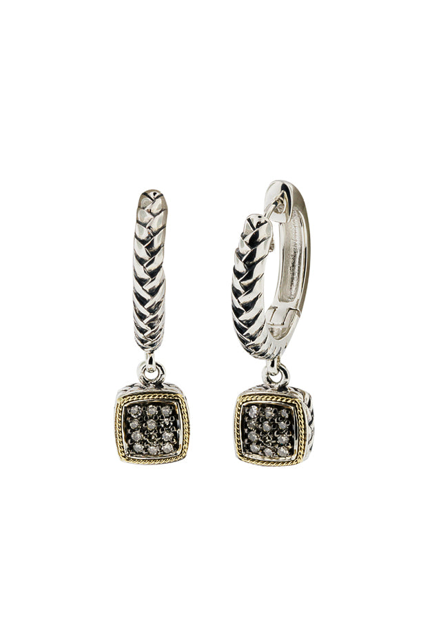 Effy 925 Silver & 18K Gold Cognac Diamond Earrings