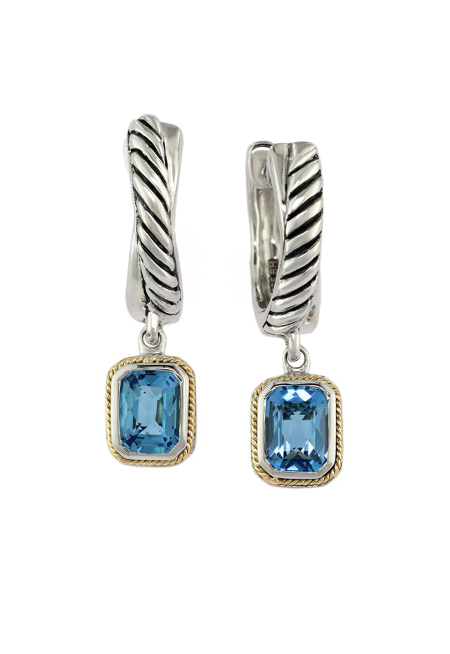 Effy 925 Sterling Silver & Gold Blue Topaz Earrings