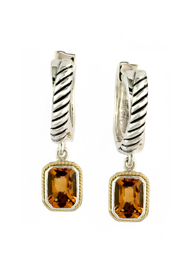 Effy 925 Sterling Silver and 18K Yellow Gold Citrine Earrings, 2.19 TCW