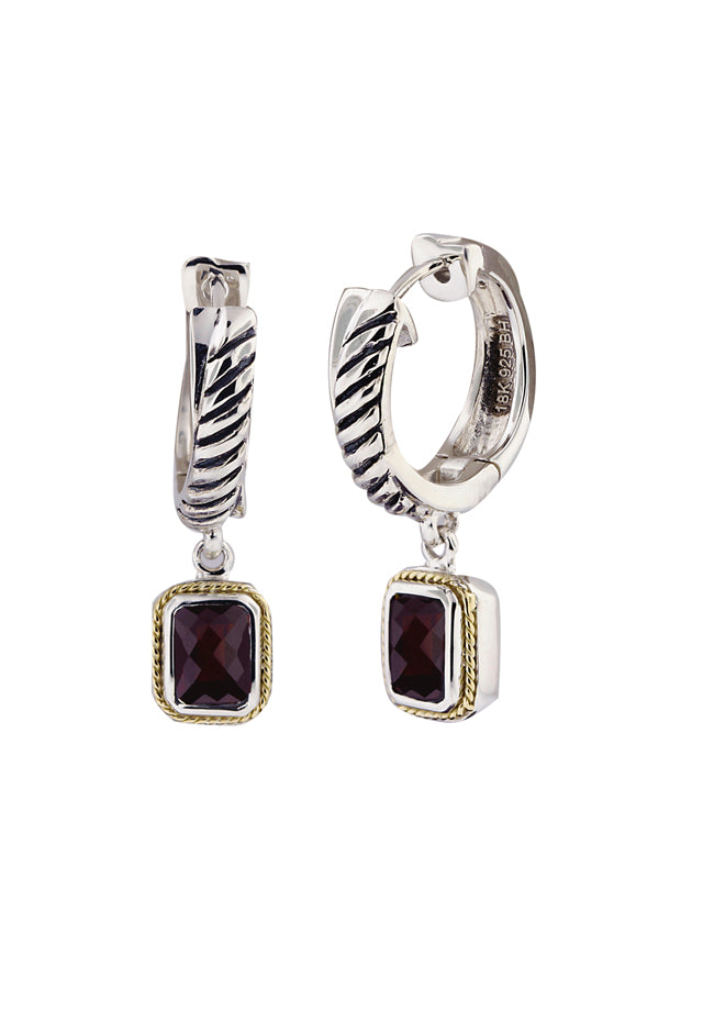 Effy 925 Sterling Silver and 18K Yellow Gold Garnet Earrings, 2.19 TCW