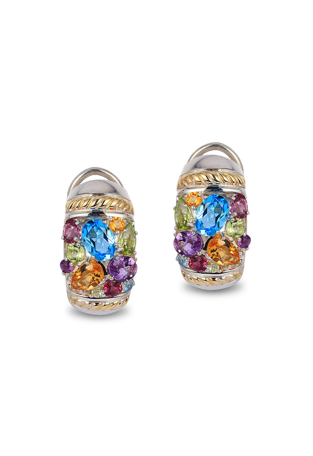 Effy 925 Sterling Silver & 18K Gold Multi Gemstone Earrings, 4.70 TCW