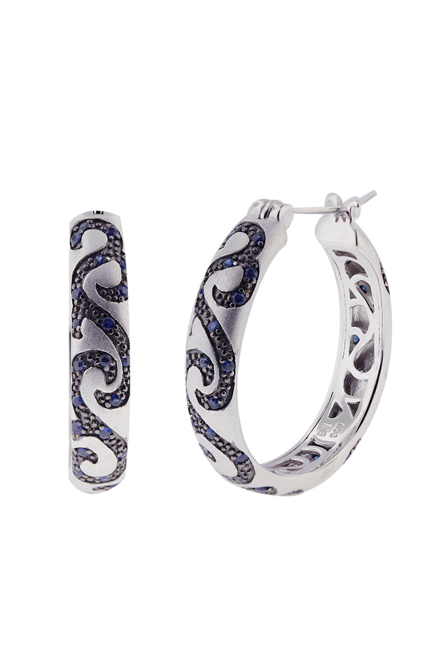 Effy 925 Sterling Silver Blue Sapphire Hoop Earrings, 1.67 TCW