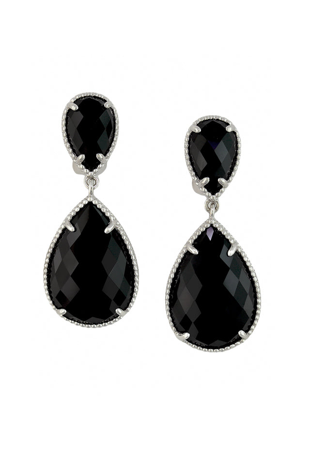 Effy 925 Sterling Silver Pear Onyx Earrings, 13.75 TCW
