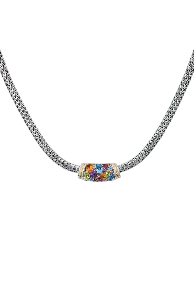 Effy 925 Sterling Silver & 18K Gold Multi Gemstone Necklace, 4.20 TCW