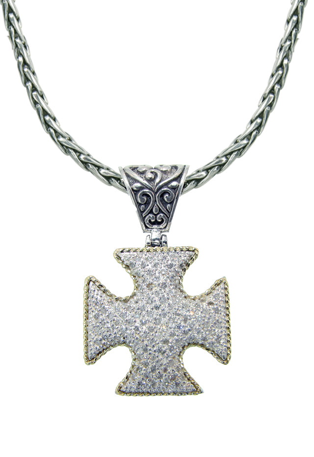 Balissima S. Silver & 18K Gold Diamond Cross Pendant