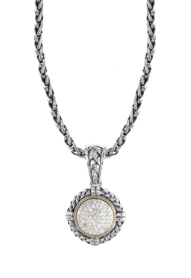 Effy 925 Sterling Silver and 18K Yellow Gold Diamond Pendant, 0.24 TCW