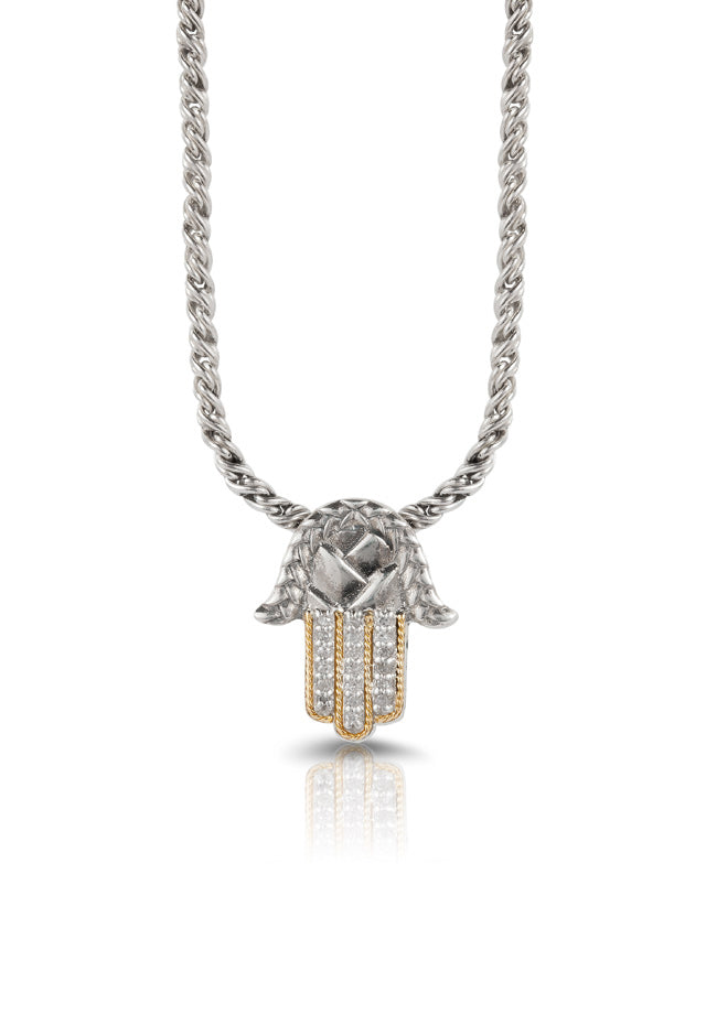 Effy 925 Sterling Silver & Gold Diamond Hamsa Pendant