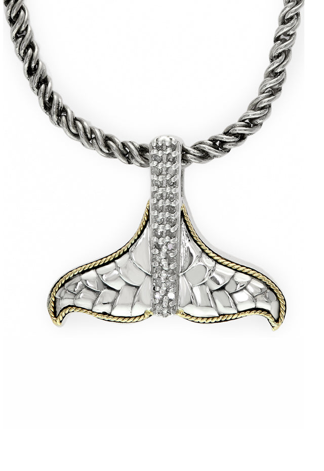 Effy 925 Sterling Silver and 18K Gold Diamond Whale's Tail Pendant
