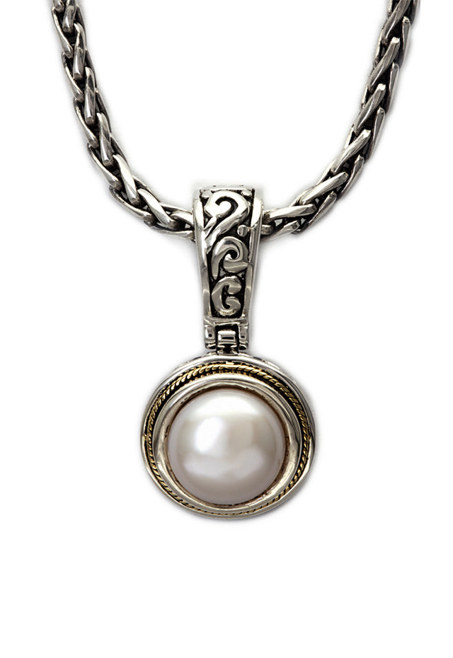 Effy 925 Sterling Silver & 18K Gold Cultured Pearl Pendant