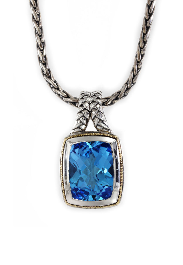 Effy 925 Sterling Silver and 18K Yellow Gold Blue Topaz Pendant, 12.35 TCW