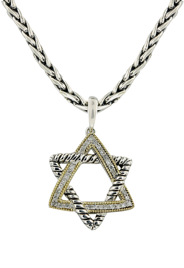 Effy 925 Silver & Gold Diamond Star of David Pendant