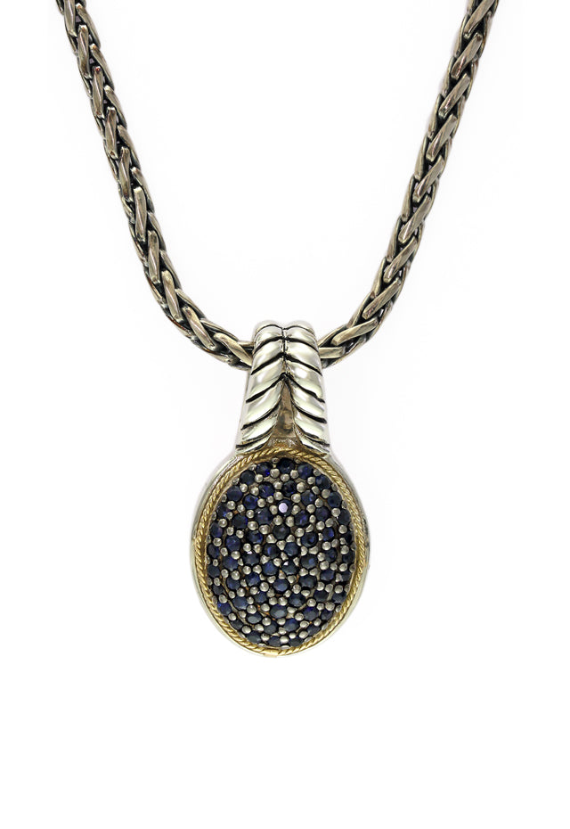 Balissima Silver & Gold Blue Sapphire Pendant, .87 TCW